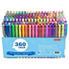 360 Pack Gel Pens Set, Shuttle Art 180 Colors Gel Pen Set Plus 180 Color Refills Perfect for Adult Coloring Books Doodling Drawing Art Markers