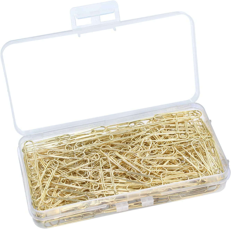 200 St/ück gold OKVGO B/üroklammern mit Kunststoffbox mit Papierklammern f/ür B/ürobedarf 33 mm