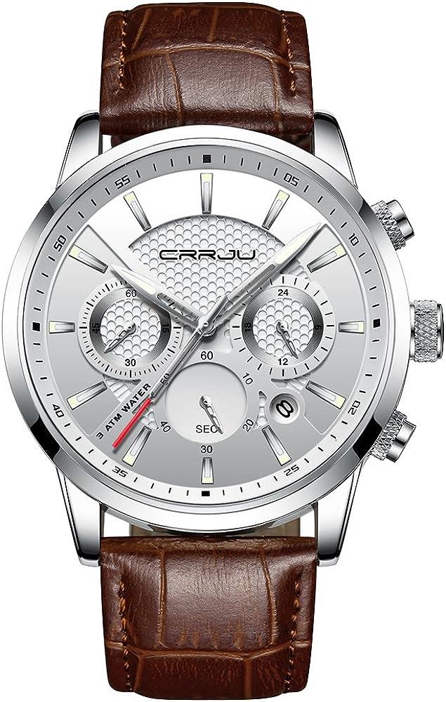 Men Watches Fashion Business Casual Dress Quartz Wristwatches Chronograph Leather Strap with Date Calendar