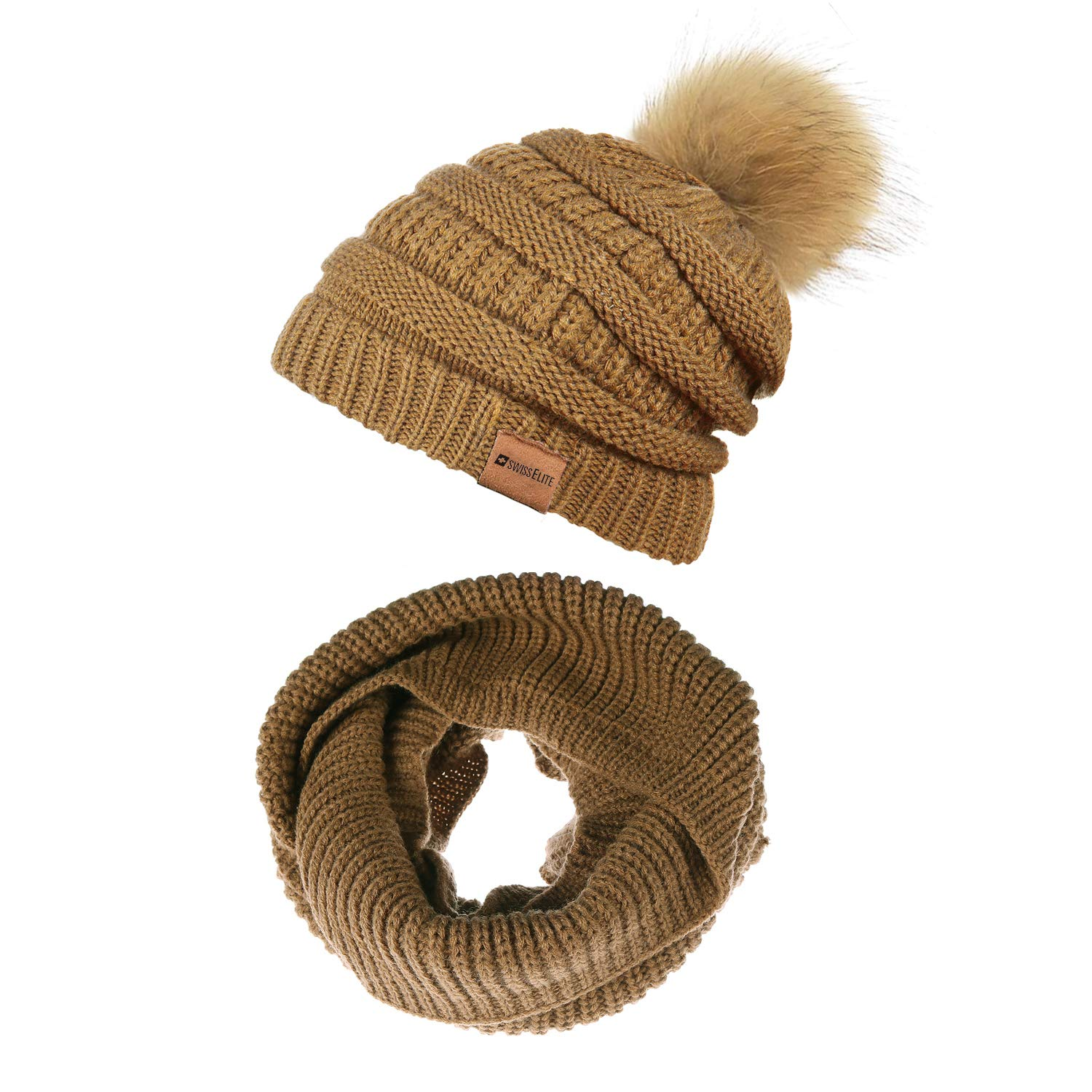 Tan 2 Pack Beanie Hats for women with Pom Pom  Warm, Soft Knit Beanie, Thick Slouchy Knit Skull Cap