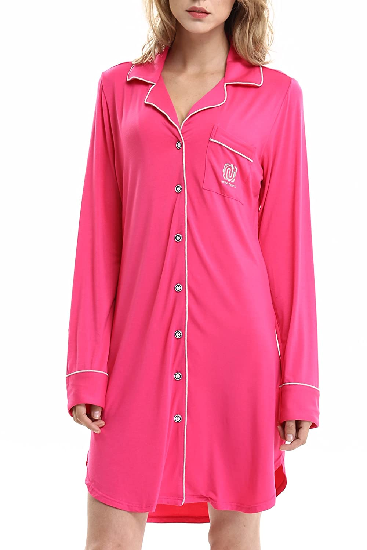 NORA TWIPS Women's Nightshirt, Ladies Pyjama Set, Women's Sleepwear, Long Sleeve Pajama, Nightwear Sleepwear for Summer Women's Sleepwear