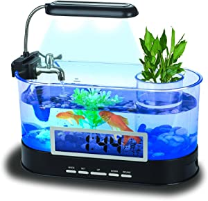 QTMY Mini Desktop Aquariums Fish Tank with LED Light Pen Holder Alarm Clock Office Decoration