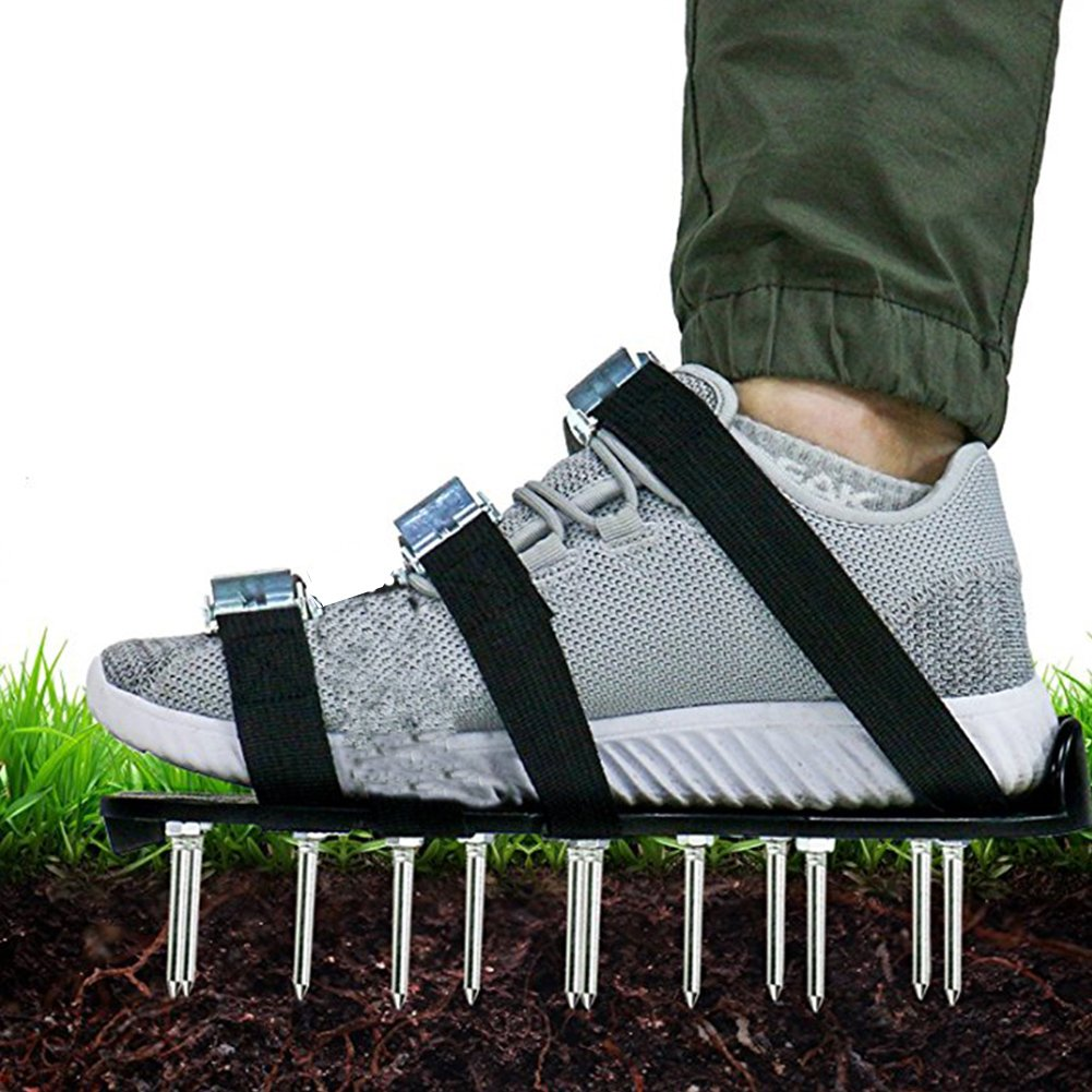1 Pair Garden Lawn Aerator Shoes, Yard Heavy Duty Spike Lawn Aerating Soil Sandals for Yard-Universal Size, 3 Adjustable Straps, 26 Nails