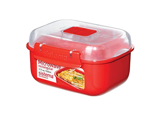 Sistema Microwave Rectangular Container, 525 ml - Red/Clear