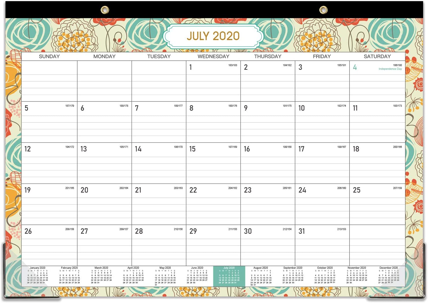 "2020-2021 Desk Calendar - 18 Months Desk/Wall Calendar Pad, 17"" x 12"" Desk Pad Calendar, January 2020 - June 2021, 18 Months Colorful Designs"
