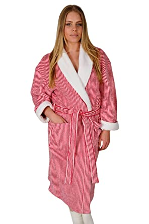 Ladies Dressing Gowns Shawl Collar Candy Stripe Large 16 18