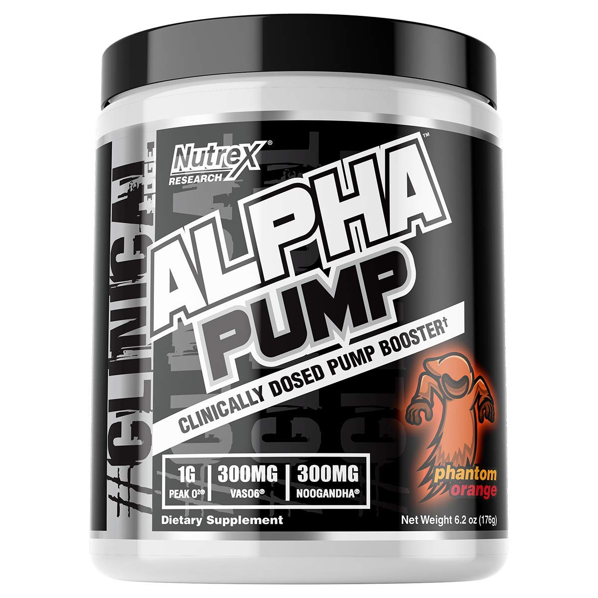 Nutrex Research Alpha Pump Clinically Dosed Pump Booster Peak02, GlycerSize, NooGandha, Vaso6, S7 20 Servings Phantom Orange