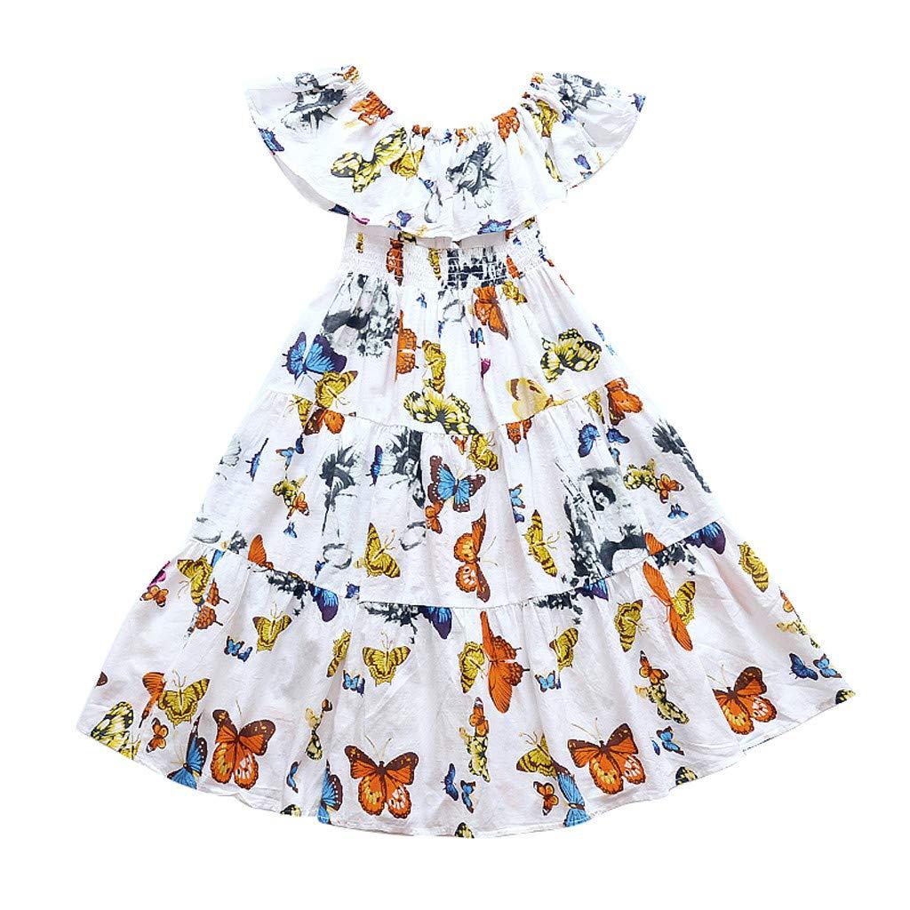 ❤️ Mealeaf ❤️ Kids Teen Children Girls Butterfly Ruffles Off Shoulder Bohemia Beach Dress(White,150)