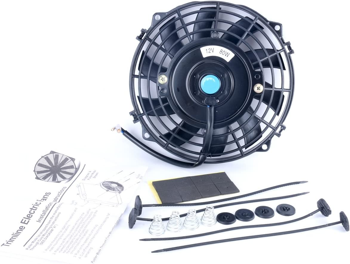 8milelake 12V 80W High Performance Black Slim Electric Cooling Radiator Fan with Fan Mounting Kit(7 inch)