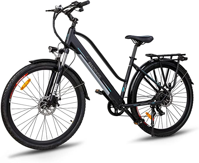 """Macwheel 28"""" Electric Trekking/Touring Bike, Cruiser 550 Electric Bicycle with 36V/10Ah Removable Lithium-ion Battery, Front Suspension, Dual Disc Brakes, Electric Trekking Bike for Touring"""