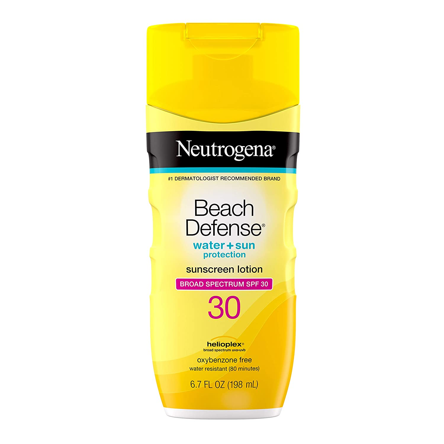 Neutrogena Beach Defense Water-Resistant Body Sunscreen Lotion with Broad Spectrum SPF 30, Oil-Free, PABA-Free, Oxybenzone-Free & Fast-Absorbing Sun Protection Against UVA/UVB Rays, 6.7 fl. oz