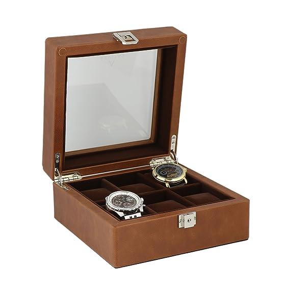 Marrón piel auténtica reloj coleccionistas Caja para 6relojes de pulsera. by Aevitas