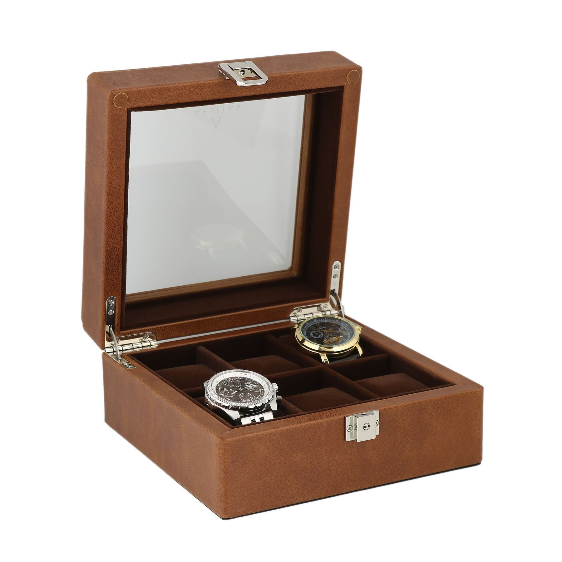 Brown Genuine Leather Watch Collectors Box for 6 Wrist Watches by Aevitas