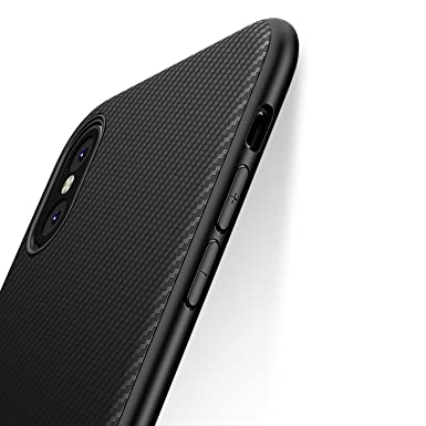 sports shoes 32e00 e7cf7 J Jecent iPhone XS/X Case, iPhone 10 Case, [Carbon Fiber Texture Design]  Light ShockProof Brushed Grip Cover Slim Simple Stylish Fully Protective ...