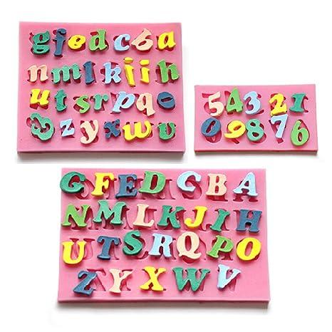 CLE DE TOUS - Molde De Silicona Forma Letras y número 0-9 para fondant, azúcar estirado, ...