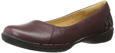 CLARKS Women's Un Hearth Flat, Burgundy Leather, ...