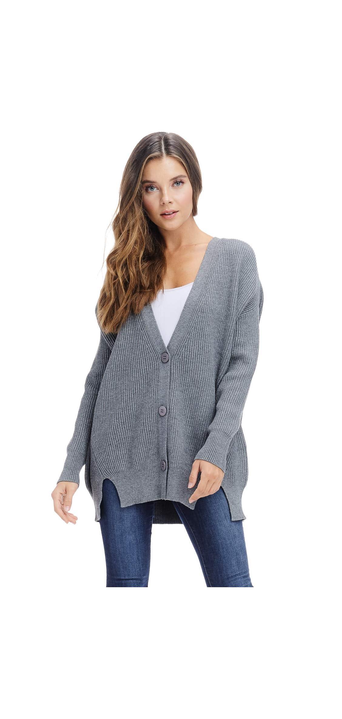 Womens Oversized Ribbed Sweater Cardigan -