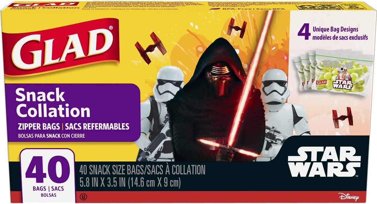 Glad Zipper Food Storage Snack Bags - Star Wars - 40 Count