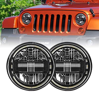"2020 Newest 7"" inch Round LED Headlight Headlamps with Daytime Running Light DRL High Low Beam for Jeep Wrangler JK TJ LJ 97-2020 Hummer H1 H2 Headlamps: Automotive"