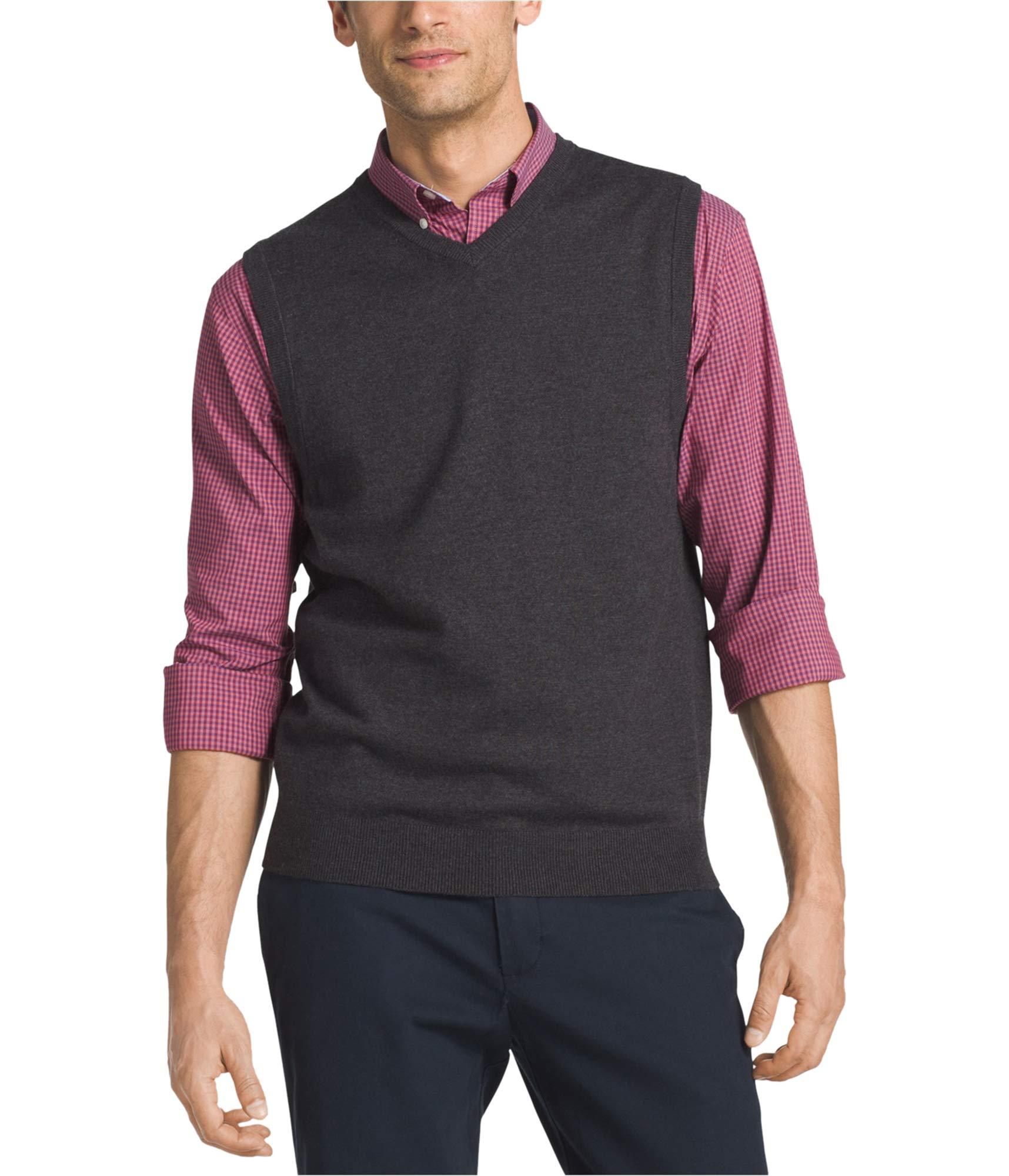 IZOD Men's Fine Gauge Solid Sweater Vest, Black, X-Large