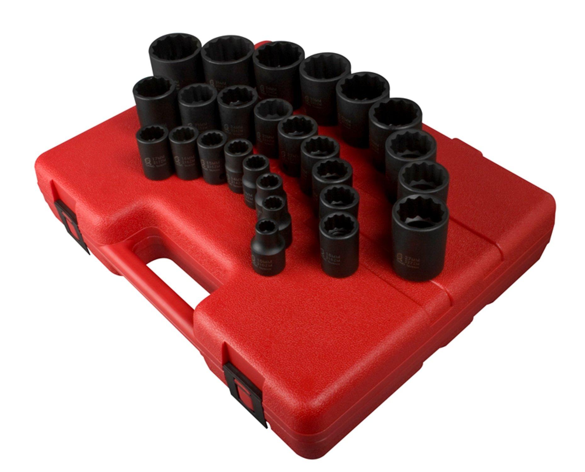 Sunex 2826 1/2-Inch Drive 12-Point Metric Impact Socket Set, 26-Piece