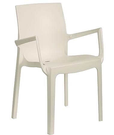 Tensai Iris Collection Narrow Square Back Durable Plastic Monobloc Chair    White