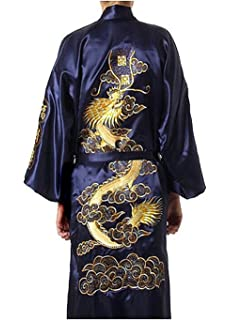f188f527e5 MORCOE Men s Chinese Dragon Embroidered Satin Kimono Yukata Long ...