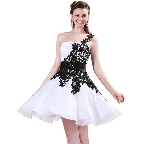 GRACE KARIN Women Short Wedding Guest Bridesmaid Dress Lace up One Shoulder Party Dress