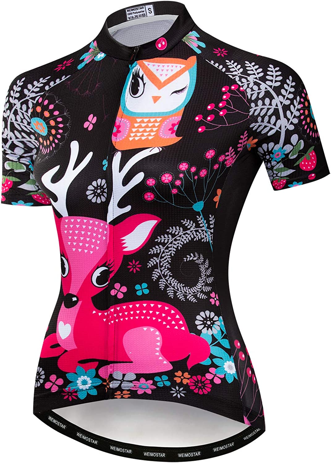 Women/'s Short Sleeve Cycling Jersey Ladies Reflective Cycle Clothing Shirt Top