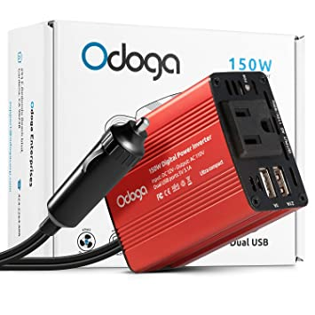 Odoga 150 W Inversor de corriente de coche DC 12 V a 110 V AC convertidor