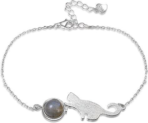 bracelet argent chat