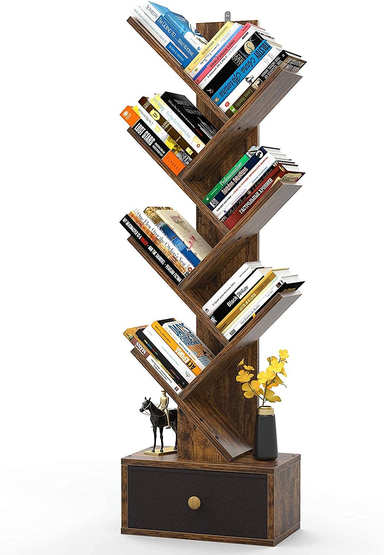 Tree Bookshelf with Drawers, Floor Standing Book Shelves, Unique Bookcase Storage Organizer Shelves for Books, Modern Wood Media Storage Rack Corner Book Shelf for Living Room, Bedroom, Rustic Brown