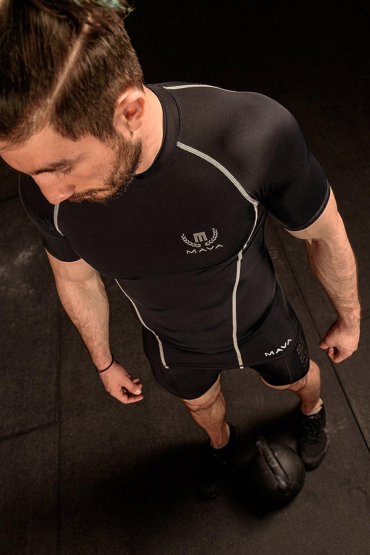 Mava Sports Mens Short Sleeve Compression T Shirt Workout Baselayer Shapewear