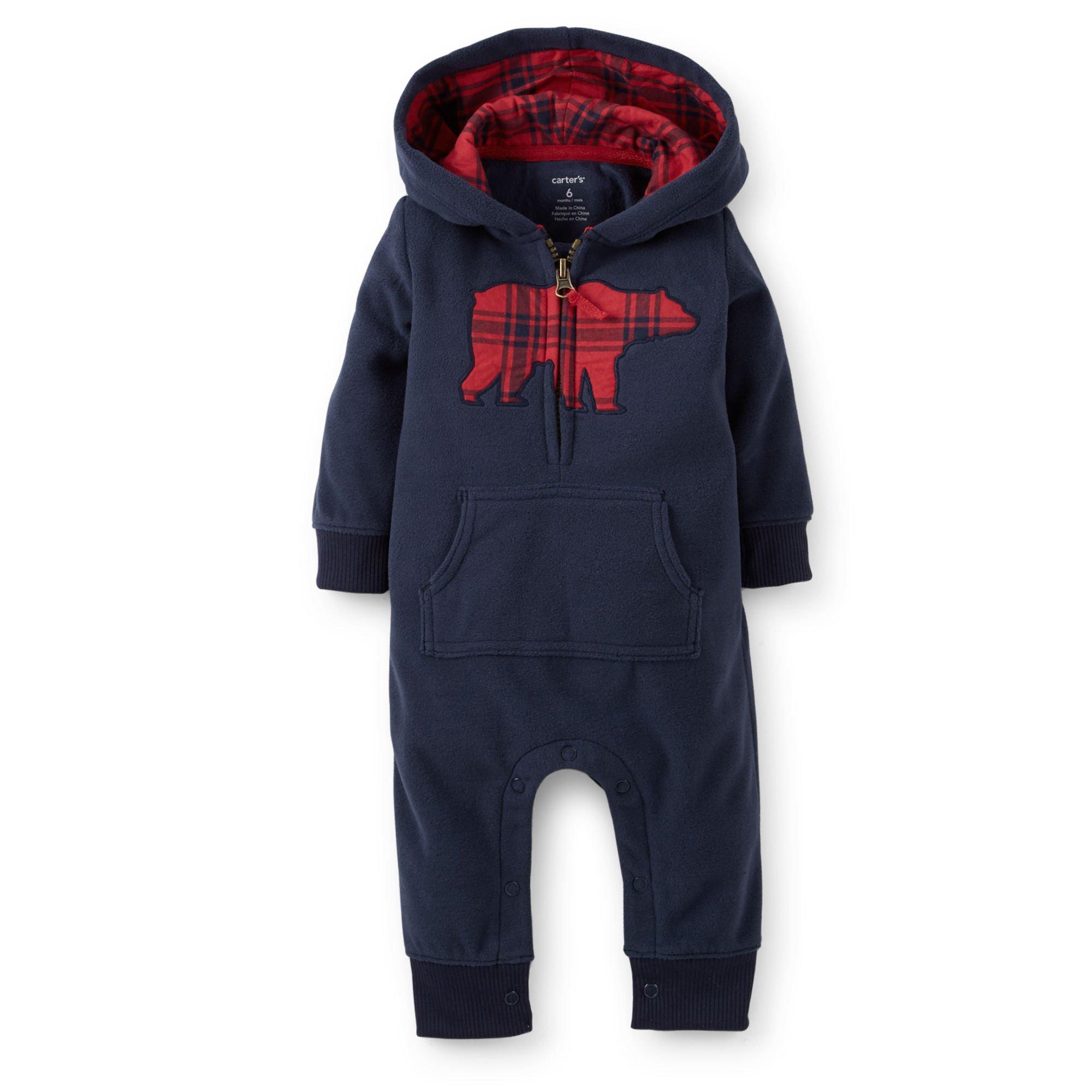 Carter's Baby Boys' Appliqué Hooded Fleece Jumpsuit (9 Months, Navy Bear)