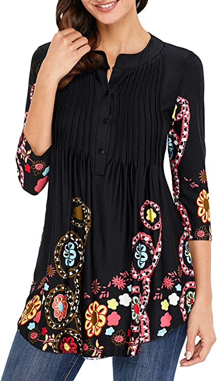Acloth Women Paisley Henley Tunic Top Pleated Long 3//4 Sleeve Flared Blouse V Neck