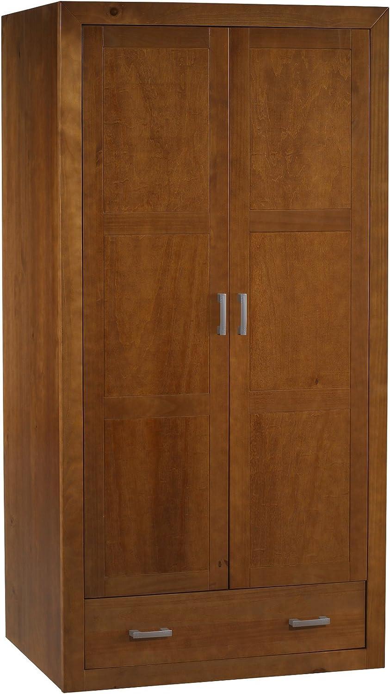 Armario 2 Puertas REALIZADO EN Madera DE Pino Macizo, Color Cerezo Compuesto DE 2 Puertas Y UN Cajon.Medidas 200X105X55: Amazon.es: Hogar