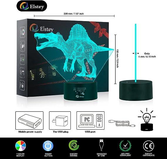 Amazon.com: Elstey 3D LED Lámpara de Luz de Noche, 3D ...