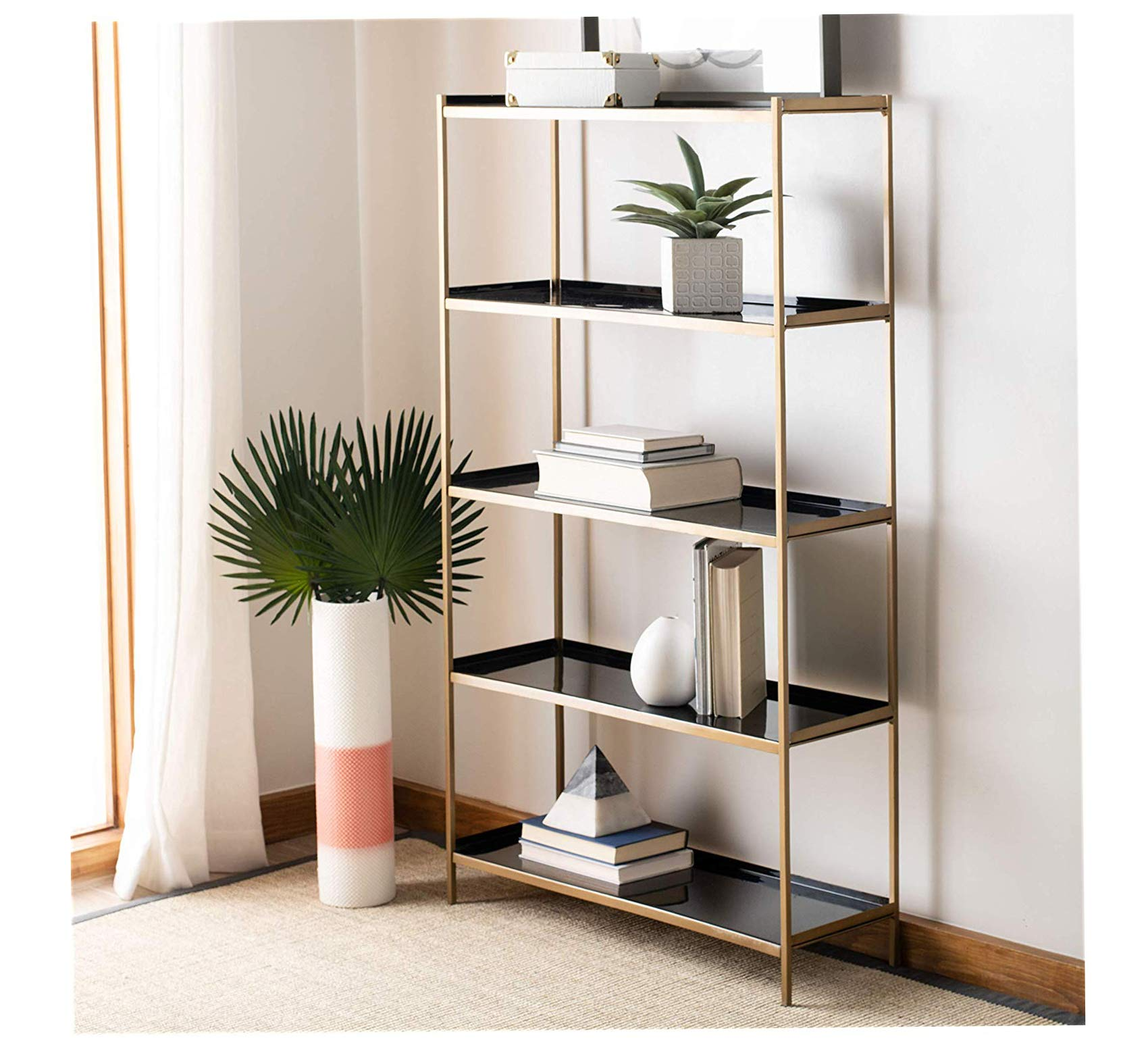 Wood & Style Furniture Justine Modern Black and Brass 5-Tier Etageres, 28'' x 10'' x 52'', Home Office Commerial Heavy Duty Strong Décor by Wood & Style
