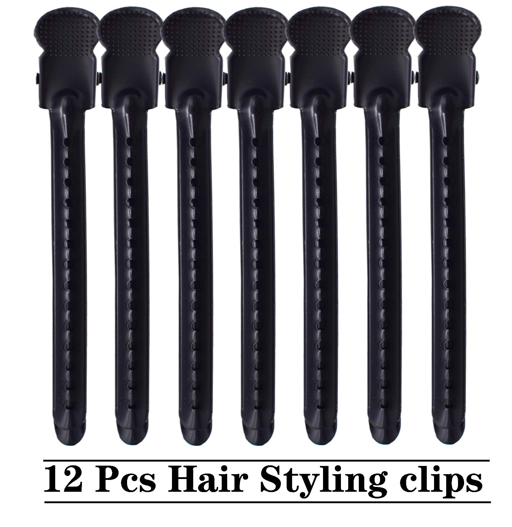 Hair Clips for Styling, 12 Pcs Professional Rustproof Metal Hair Styling Clips Hair Clip Set, 3.7 Inches Durable Salon Hair Clips Styling Tools for Salon, Personal &thick Hair (black)