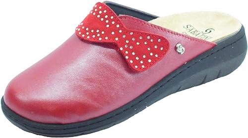Sabatini S1100C Perlato Rosso Pantofole Donna in pelle con sottopiede estraibile