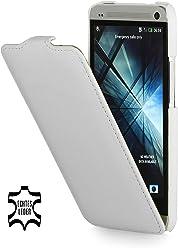 Esclusiva custodia UltraSlim Stilgut in vera pelle per HTC One (M7) - bianco