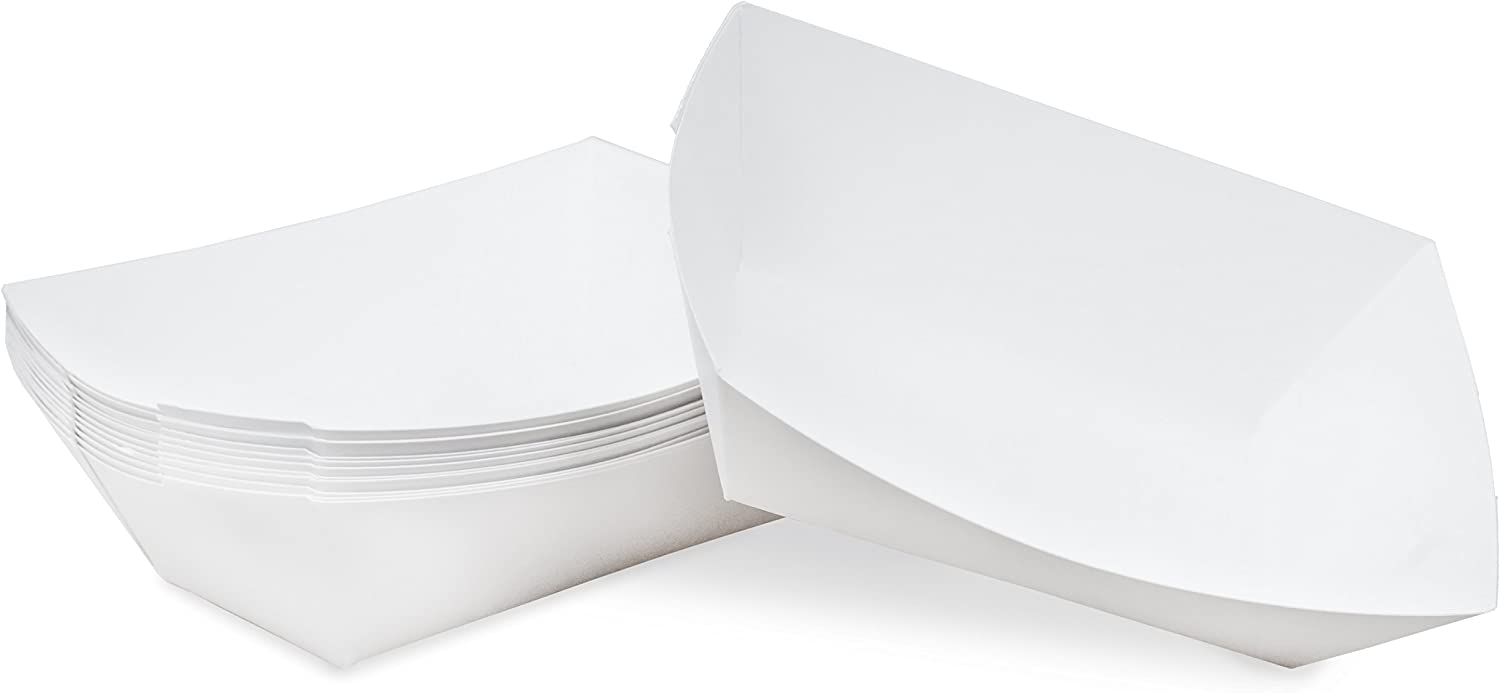 1/2 lb White Disposable Paper Food Tray for Carnivals, Fairs, Festivals, Concession Stands, Food Trucks (White - extra small 1/2 lb, 25 pack)