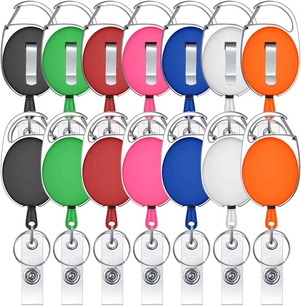 Lot de 12 mousquetons r/étractables de couleurs mixtes pour porte-cl/és et cartes didentit/é 6 couleurs
