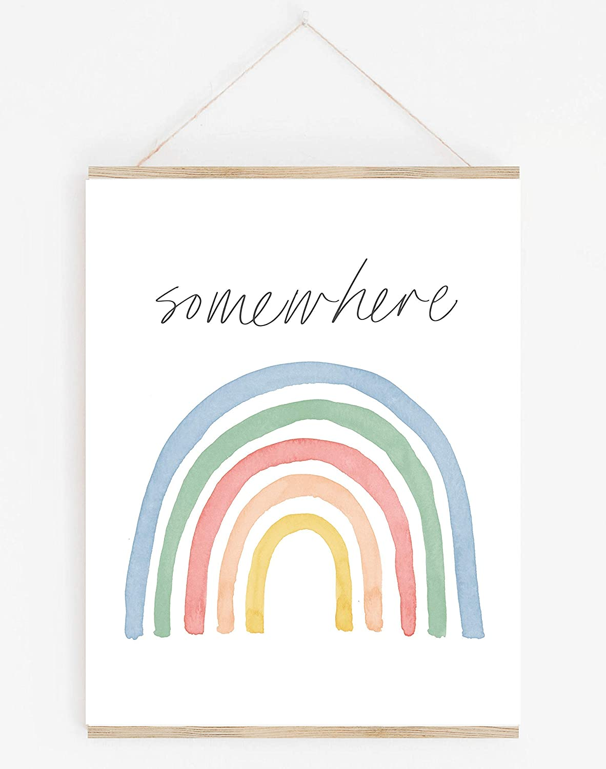 Watercolor Pastel Rainbow Wall Art. 11x14 UNFRAMED Decor Print Perfect for Baby or Child Nursery, Bedroom or Playroom.