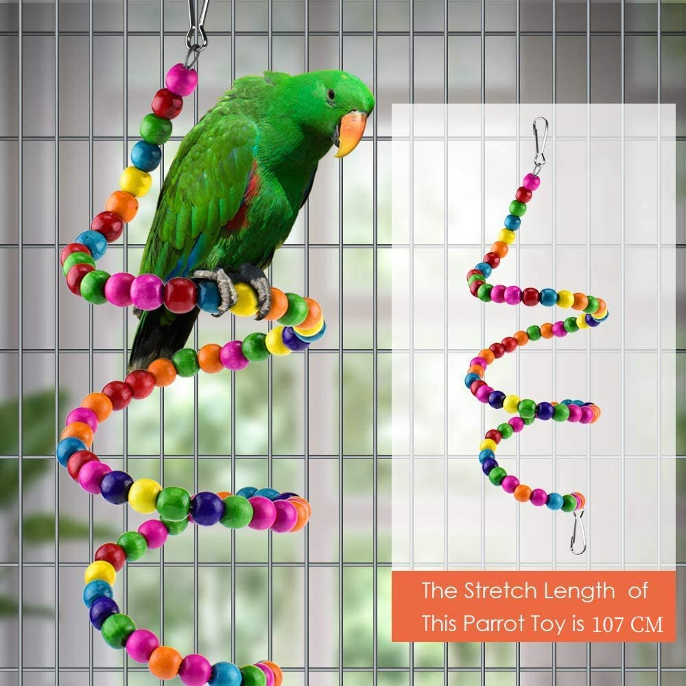 123 Life Bird Parrot Toys Pet Bird Toys Wooden Hanging Stand Ladder Bird Swing Chewing Toys Hanging Bell Pet Bird Cage Hammock Swing Toy Parakeets Cockatiels Conures Macaws Love Birds Finches 6PCS