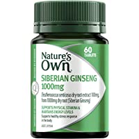 Nature's Own Siberian Ginseng 1000mg - Maintains Stamina, Energy Levels and General Wellbeing - Supports Immunity, 60 Tablets