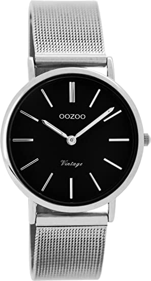 Oozoo Vintage Mujer Reloj Metal banda 32 mm negro/plata Colores c8873