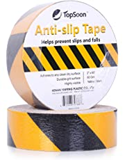 TopSoon Anti Slip Tape Yellow Black 2-Inch by 60-Foot 80 Grit Non Skid Safety Traction Tape Indoor or Outdoor Applicable