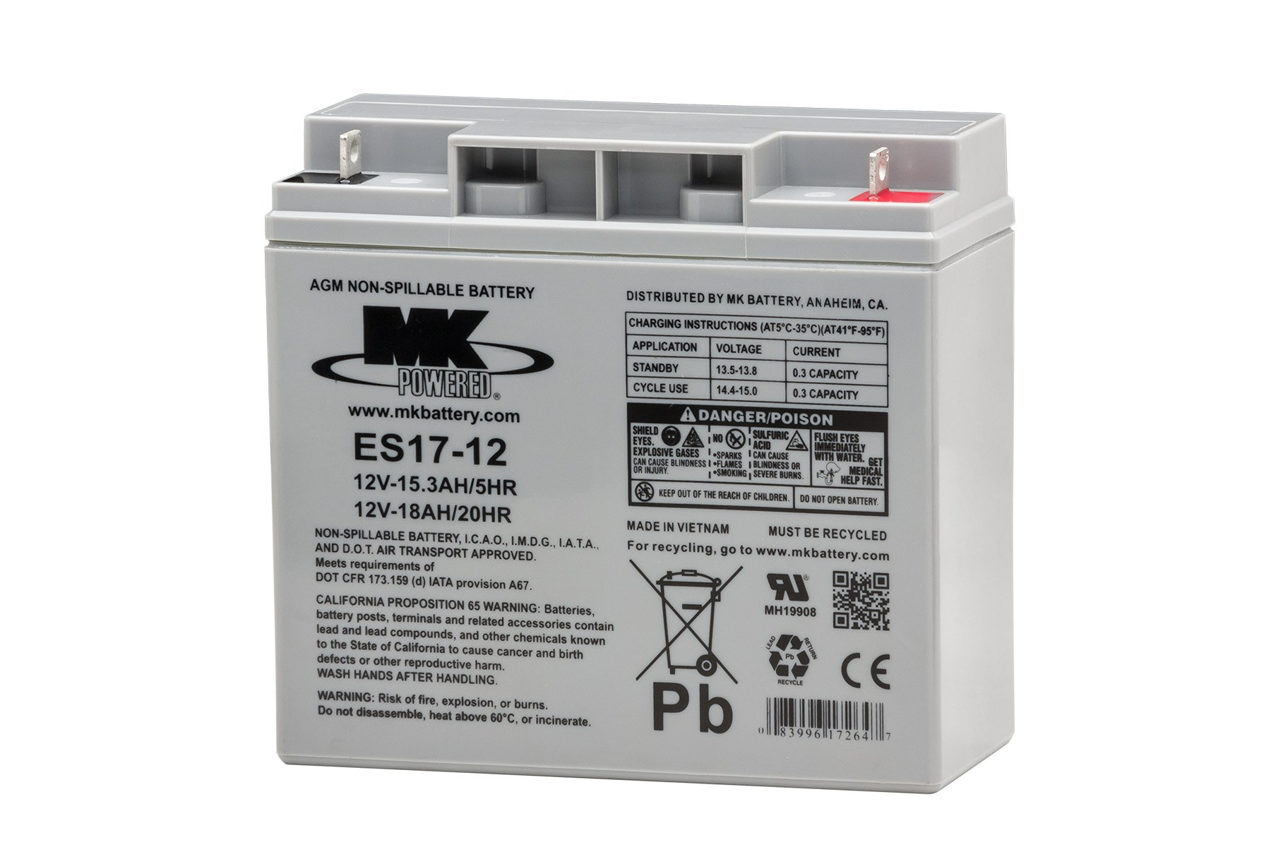 MK Battery ES17-12 Maintenance-Free Rechargeable Sealed Lead-Acid Battery