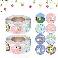 Pasen Thema Stickers,2 Roll Cartoon Easter Egg Rabbit Sticker,Cadeau Labels,geschikt voor Cadeaupapier Decor,Pasen…